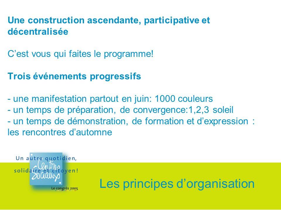 Une construction ascendante, participative et décentralisée Cest vous qui faites le programme.