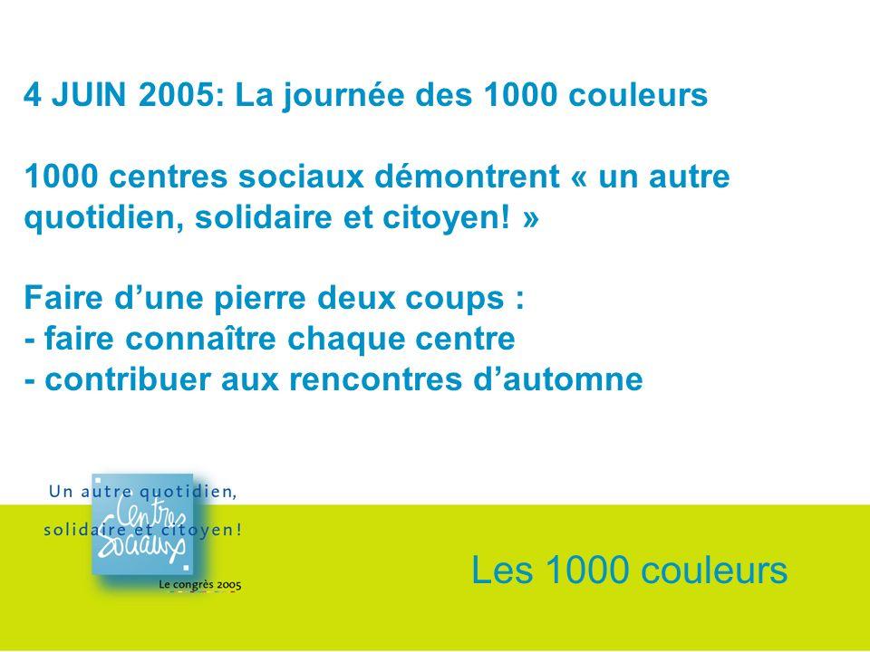 4 JUIN 2005: La journée des 1000 couleurs 1000 centres sociaux démontrent « un autre quotidien, solidaire et citoyen.