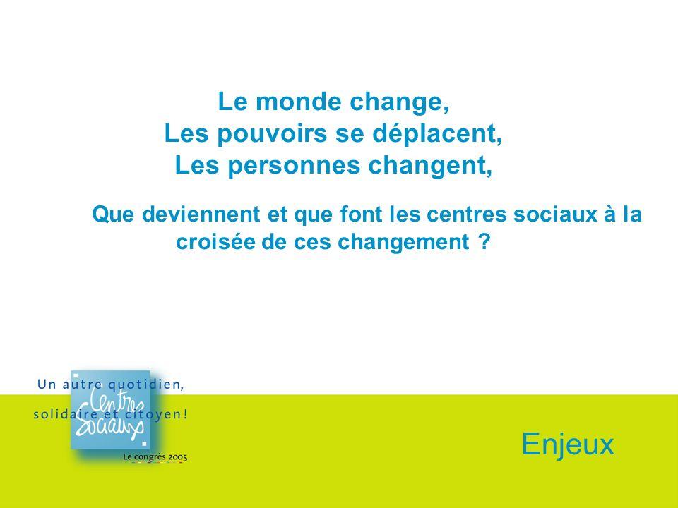 Le monde change, Les pouvoirs se déplacent, Les personnes changent, Que deviennent et que font les centres sociaux à la croisée de ces changement .