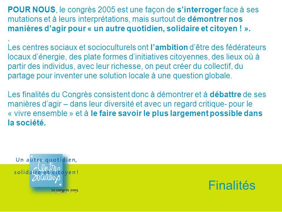 POUR NOUS, le congrès 2005 est une façon de sinterroger face à ses mutations et à leurs interprétations, mais surtout de démontrer nos manières dagir pour « un autre quotidien, solidaire et citoyen .