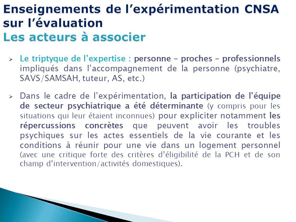 Le triptyque de lexpertise : personne – proches – professionnels impliqués dans laccompagnement de la personne (psychiatre, SAVS/SAMSAH, tuteur, AS, e