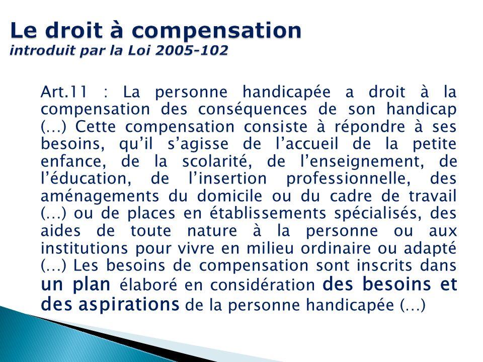 Le droit à compensation introduit par la Loi 2005-102 Art.11 : La personne handicapée a droit à la compensation des conséquences de son handicap (…) C