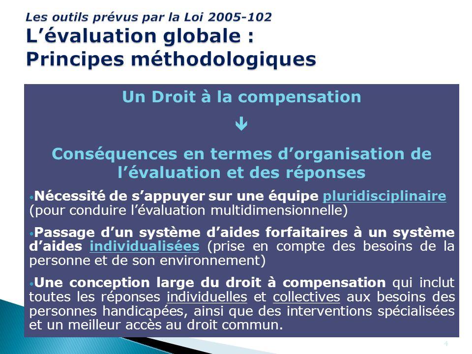 4 Les outils prévus par la Loi 2005-102 Lévaluation globale : Principes méthodologiques Une évaluation qui ne se limite pas aux besoins vitaux mais po