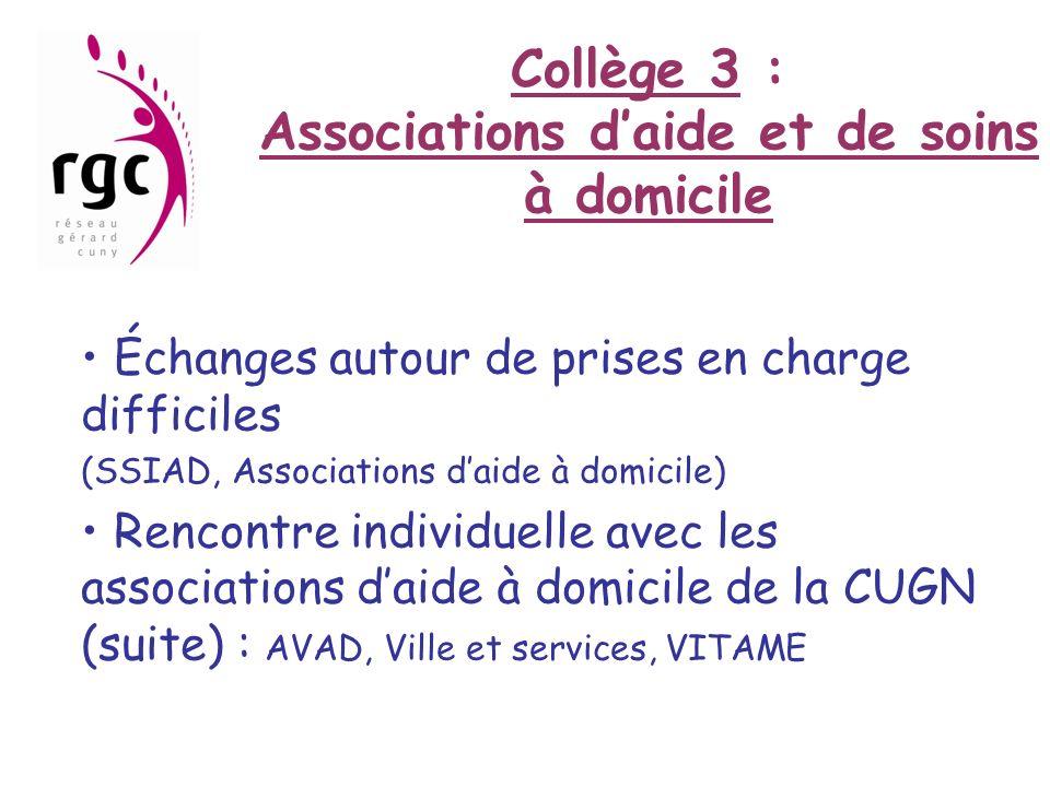Collège 3 : Associations daide et de soins à domicile Échanges autour de prises en charge difficiles (SSIAD, Associations daide à domicile) Rencontre