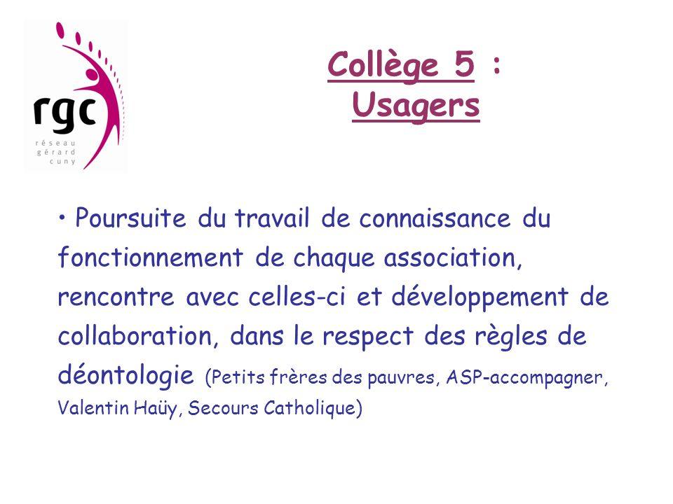 Collège 5 : Usagers Poursuite du travail de connaissance du fonctionnement de chaque association, rencontre avec celles-ci et développement de collabo