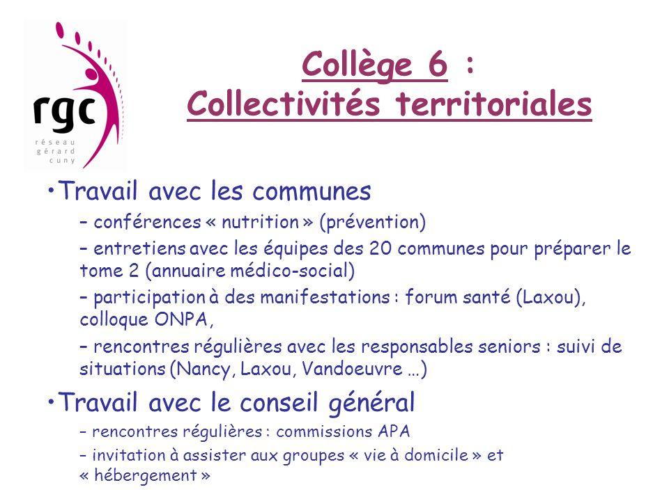 Collège 6 : Collectivités territoriales Travail avec les communes – conférences « nutrition » (prévention) – entretiens avec les équipes des 20 commun