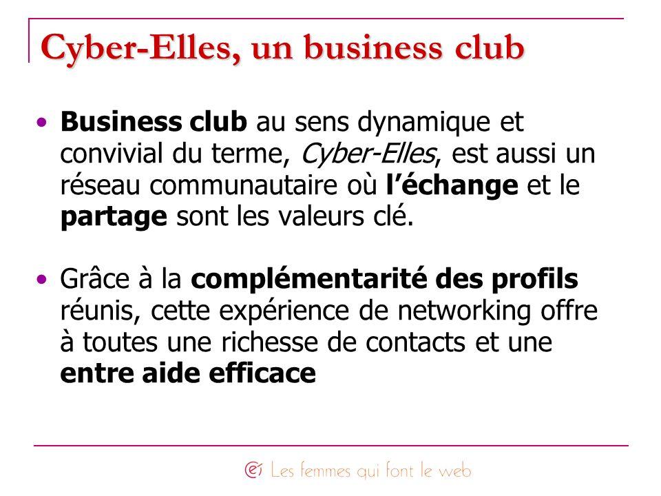 Cyber-Elles, un business club Business club au sens dynamique et convivial du terme, Cyber-Elles, est aussi un réseau communautaire où léchange et le