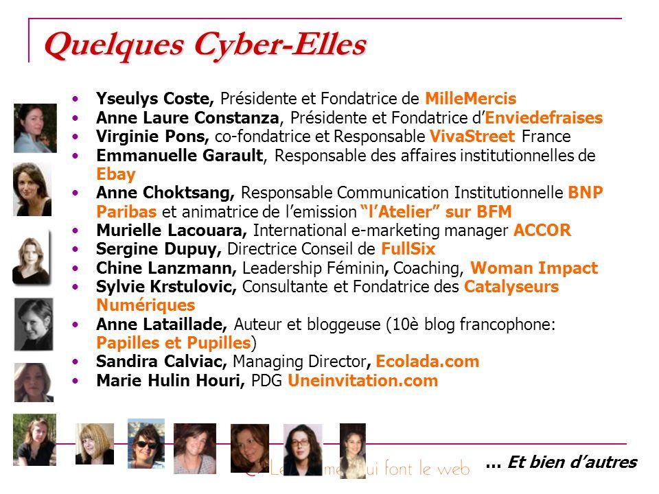Quelques Cyber-Elles Yseulys Coste, Présidente et Fondatrice de MilleMercis Anne Laure Constanza, Présidente et Fondatrice dEnviedefraises Virginie Po