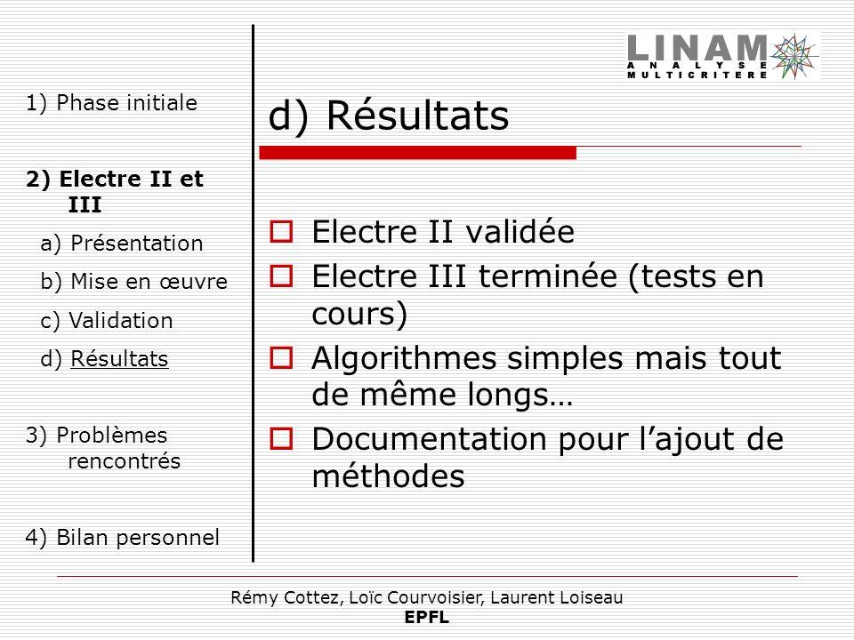 Rémy Cottez, Loïc Courvoisier, Laurent Loiseau EPFL d) Résultats Electre II validée Electre III terminée (tests en cours) Algorithmes simples mais tou