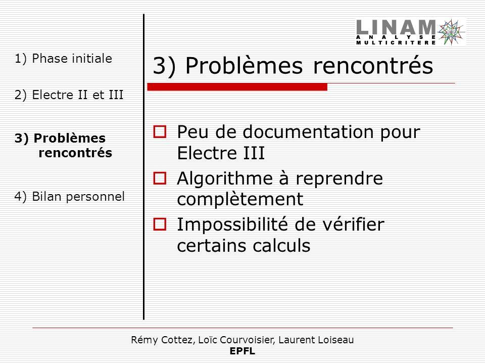 Rémy Cottez, Loïc Courvoisier, Laurent Loiseau EPFL 3) Problèmes rencontrés Peu de documentation pour Electre III Algorithme à reprendre complètement