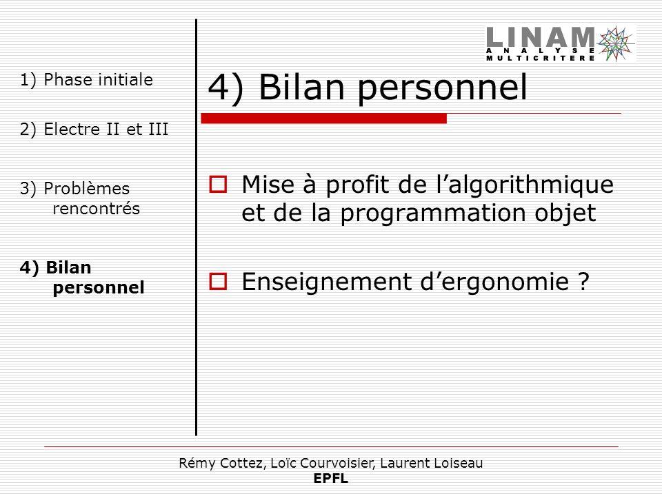 Rémy Cottez, Loïc Courvoisier, Laurent Loiseau EPFL 4) Bilan personnel Mise à profit de lalgorithmique et de la programmation objet Enseignement dergo