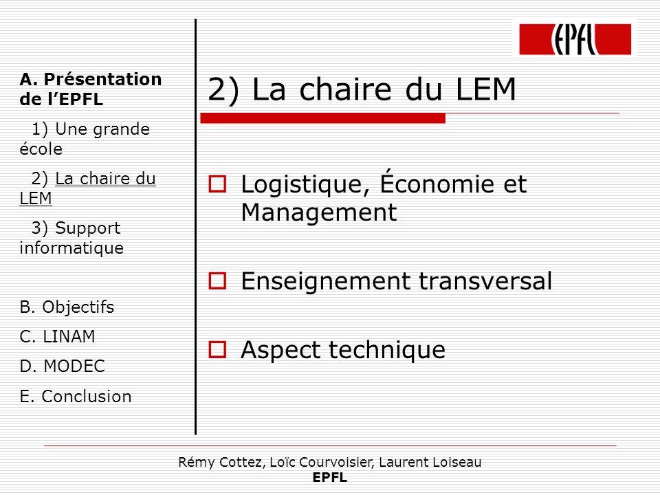 Rémy Cottez, Loïc Courvoisier, Laurent Loiseau EPFL 2) La chaire du LEM Logistique, Économie et Management Enseignement transversal Aspect technique A