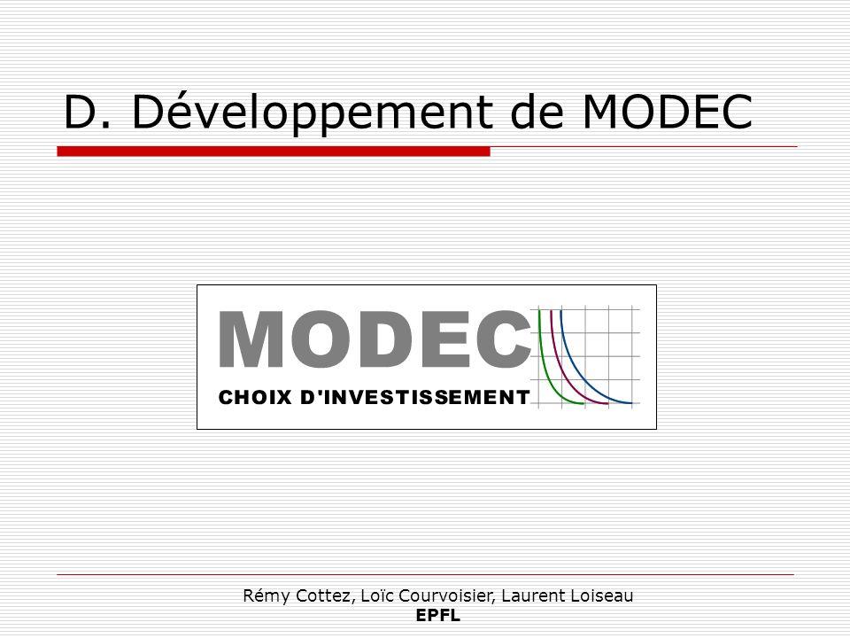 Rémy Cottez, Loïc Courvoisier, Laurent Loiseau EPFL D. Développement de MODEC
