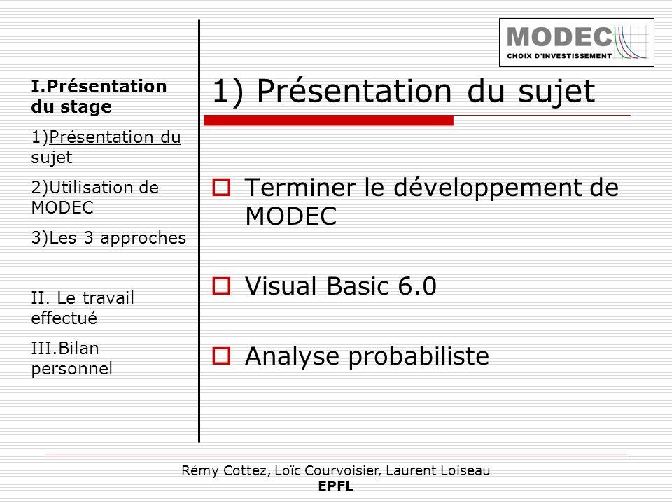 Rémy Cottez, Loïc Courvoisier, Laurent Loiseau EPFL 1) Présentation du sujet Terminer le développement de MODEC Visual Basic 6.0 Analyse probabiliste