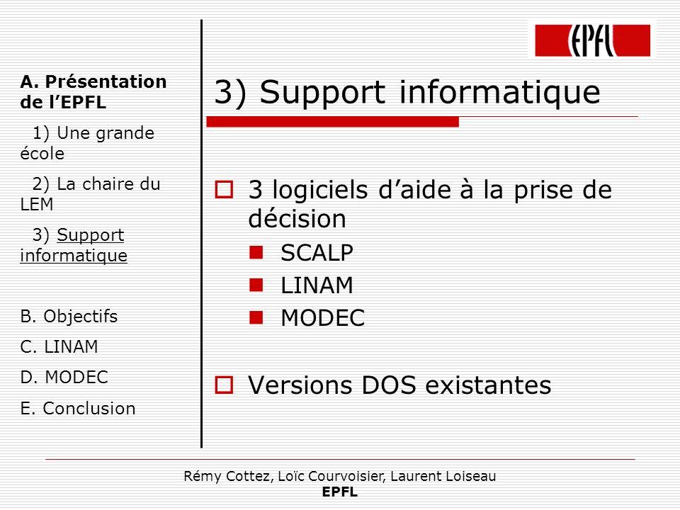 Rémy Cottez, Loïc Courvoisier, Laurent Loiseau EPFL 3) Support informatique 3 logiciels daide à la prise de décision SCALP LINAM MODEC Versions DOS ex
