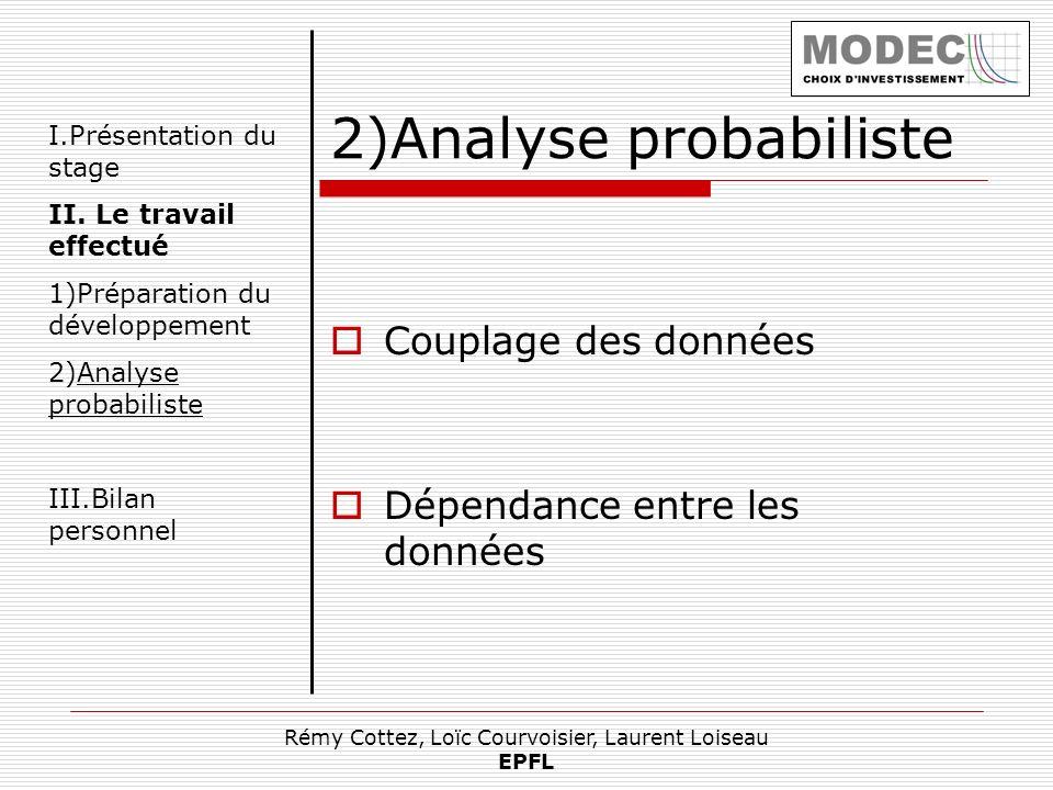 Rémy Cottez, Loïc Courvoisier, Laurent Loiseau EPFL I.Présentation du stage II. Le travail effectué 1)Préparation du développement 2)Analyse probabili