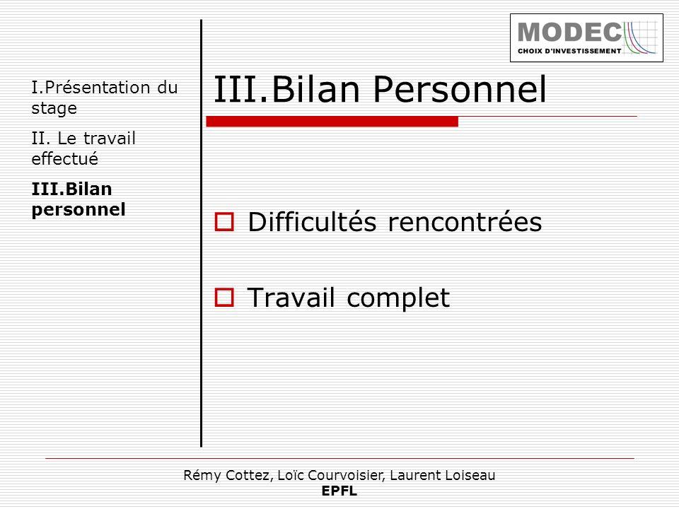 Rémy Cottez, Loïc Courvoisier, Laurent Loiseau EPFL III.Bilan Personnel Difficultés rencontrées Travail complet I.Présentation du stage II. Le travail