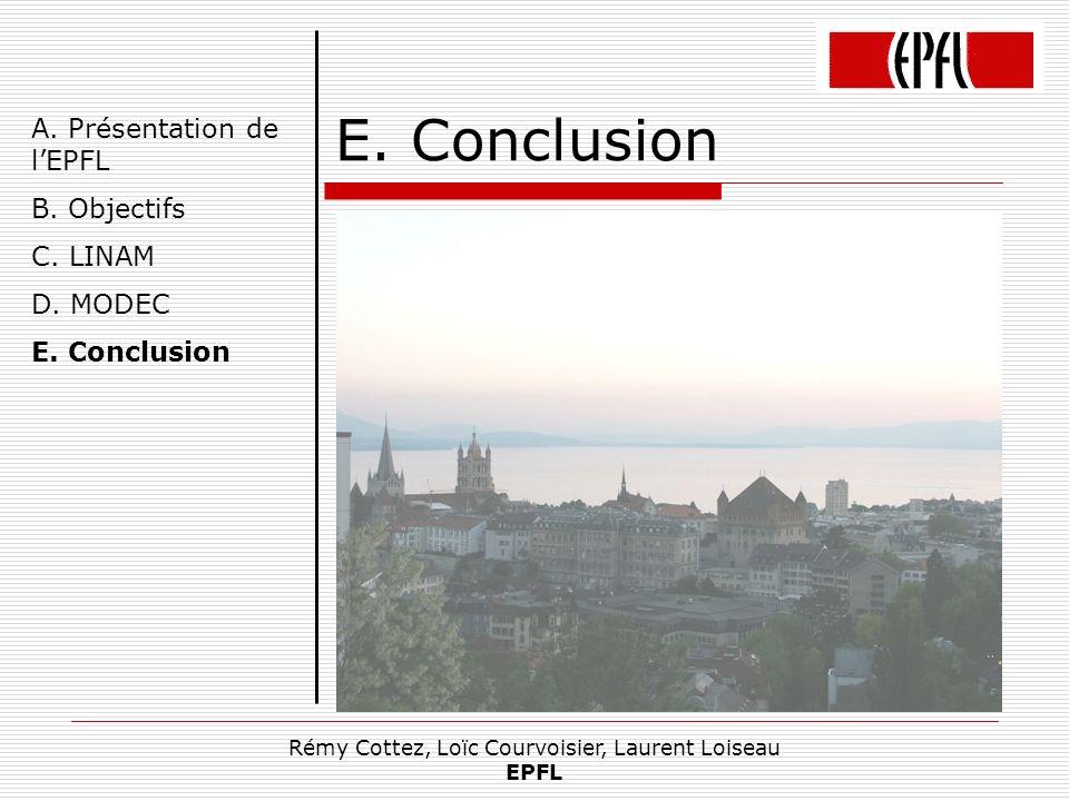 Rémy Cottez, Loïc Courvoisier, Laurent Loiseau EPFL E. Conclusion Apprentissage dune nouvelle technologie Découverte de la programmation en entreprise