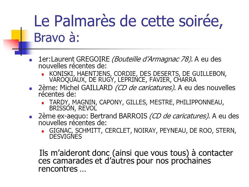 Le Palmarès de cette soirée, Bravo à: 1er:Laurent GREGOIRE (Bouteille dArmagnac 78).