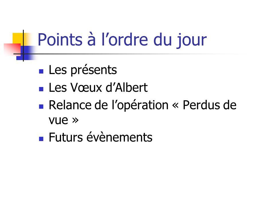 Points à lordre du jour Les présents Les Vœux dAlbert Relance de lopération « Perdus de vue » Futurs évènements