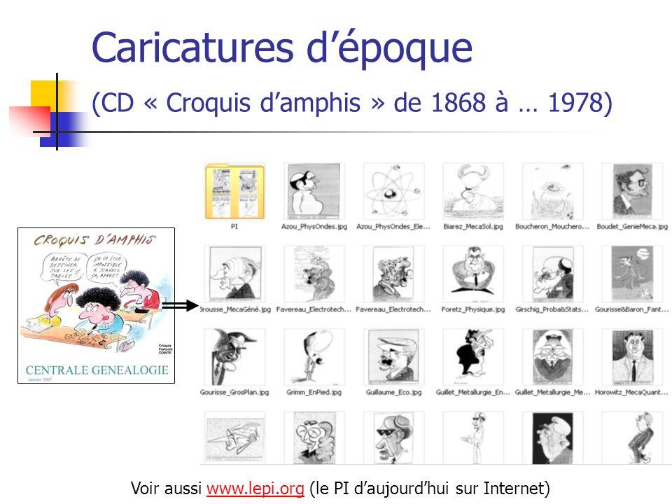 Caricatures dépoque (CD « Croquis damphis » de 1868 à … 1978) Voir aussi www.lepi.org (le PI daujourdhui sur Internet)www.lepi.org