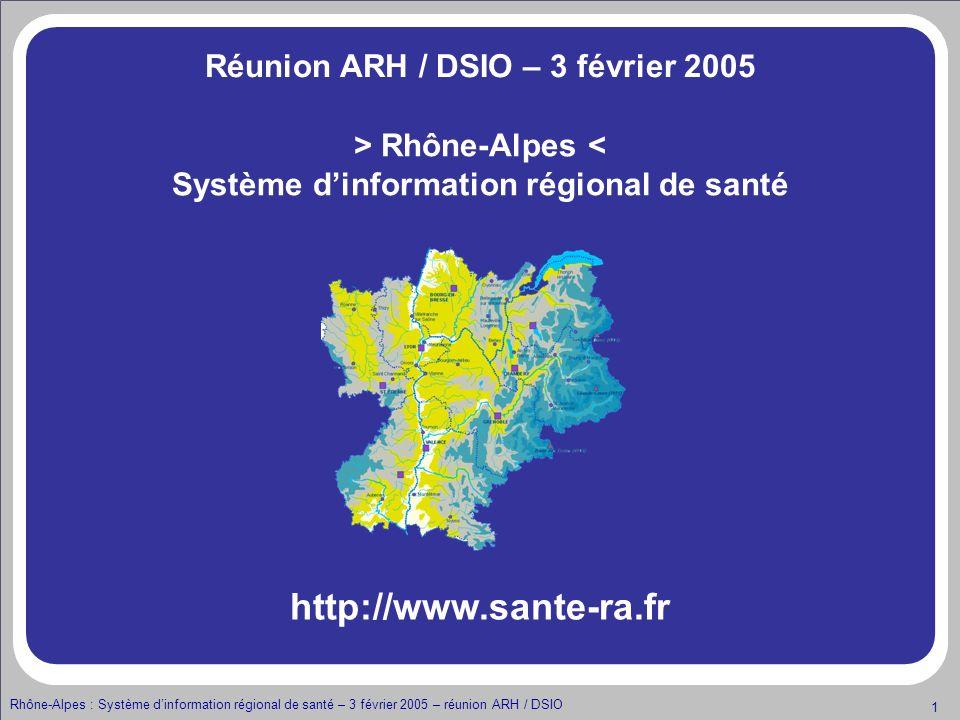 Rhône-Alpes : Système dinformation régional de santé – 3 février 2005 – réunion ARH / DSIO 22 Intégration dun établissement à la plate forme régionale de santé Et vous, que faire pour intégrer la plateforme .
