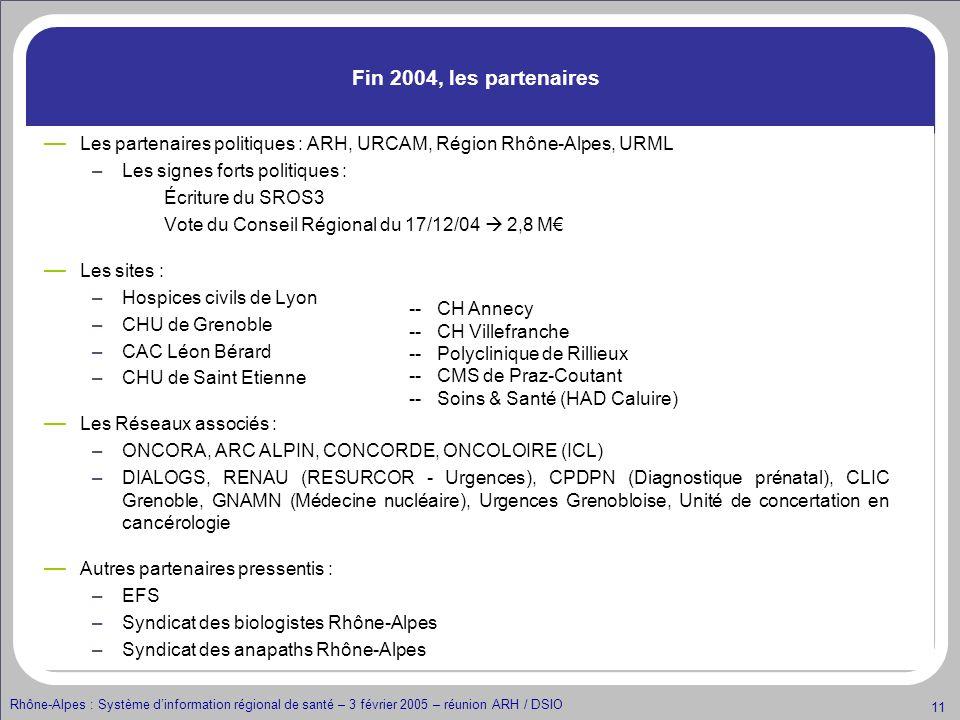 Rhône-Alpes : Système dinformation régional de santé – 3 février 2005 – réunion ARH / DSIO 11 Fin 2004, les partenaires Les partenaires politiques : A
