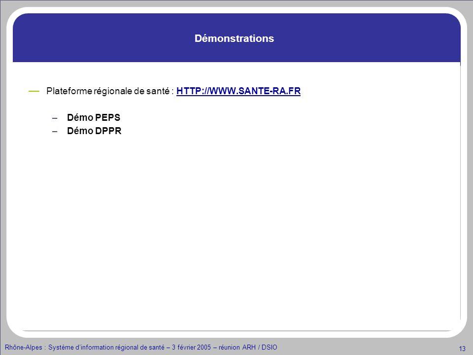Rhône-Alpes : Système dinformation régional de santé – 3 février 2005 – réunion ARH / DSIO 13 Démonstrations Plateforme régionale de santé : HTTP://WW