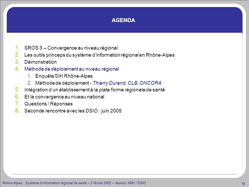 Rhône-Alpes : Système dinformation régional de santé – 3 février 2005 – réunion ARH / DSIO 18 AGENDA 1. SROS 3 – Convergence au niveau régional 2. Les