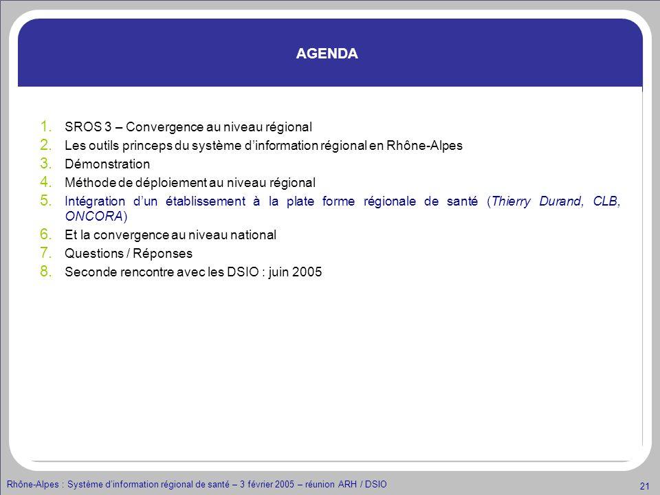 Rhône-Alpes : Système dinformation régional de santé – 3 février 2005 – réunion ARH / DSIO 21 AGENDA 1. SROS 3 – Convergence au niveau régional 2. Les