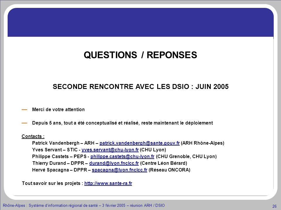 Rhône-Alpes : Système dinformation régional de santé – 3 février 2005 – réunion ARH / DSIO 26 Merci de votre attention Depuis 5 ans, tout a été concep