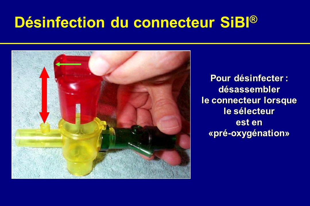 Pour désinfecter : désassembler le connecteur lorsque le sélecteur est en «pré-oxygénation» Désinfection du connecteur SiBI ®