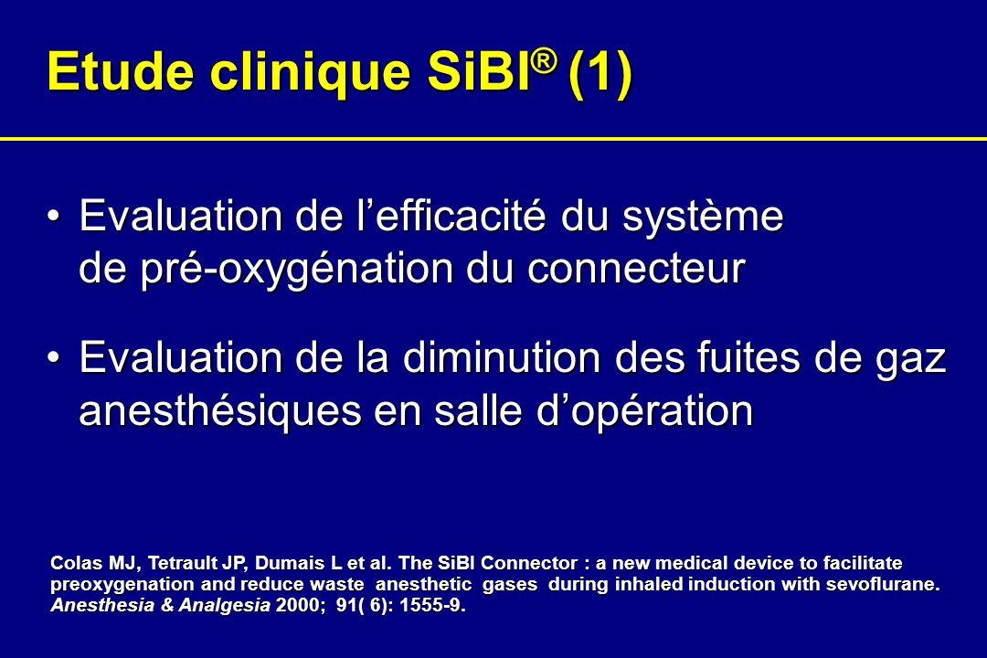 Etude clinique SiBI ® (1) Evaluation de lefficacité du système de pré-oxygénation du connecteurEvaluation de lefficacité du système de pré-oxygénation