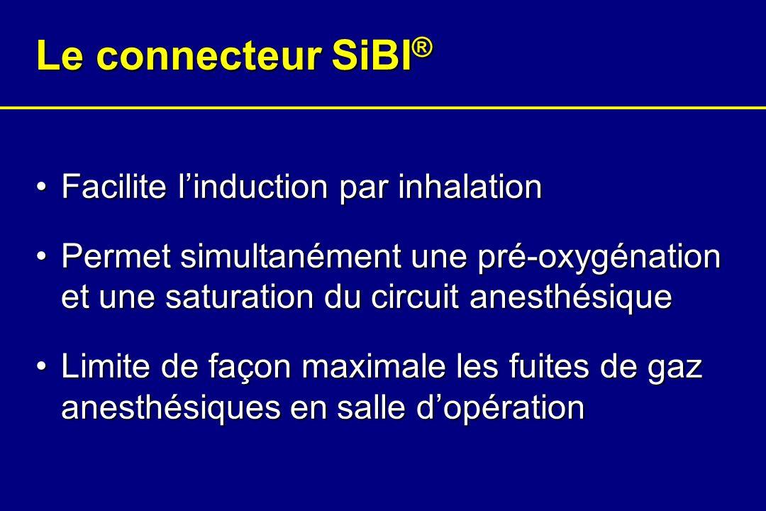 Présentation du connecteur SiBI ® Circuitanesthésique Patient Sélecteur de flux Ballon Connection analyseur de gaz Connection tubulure dO 2 Orifice de surpression dO 2