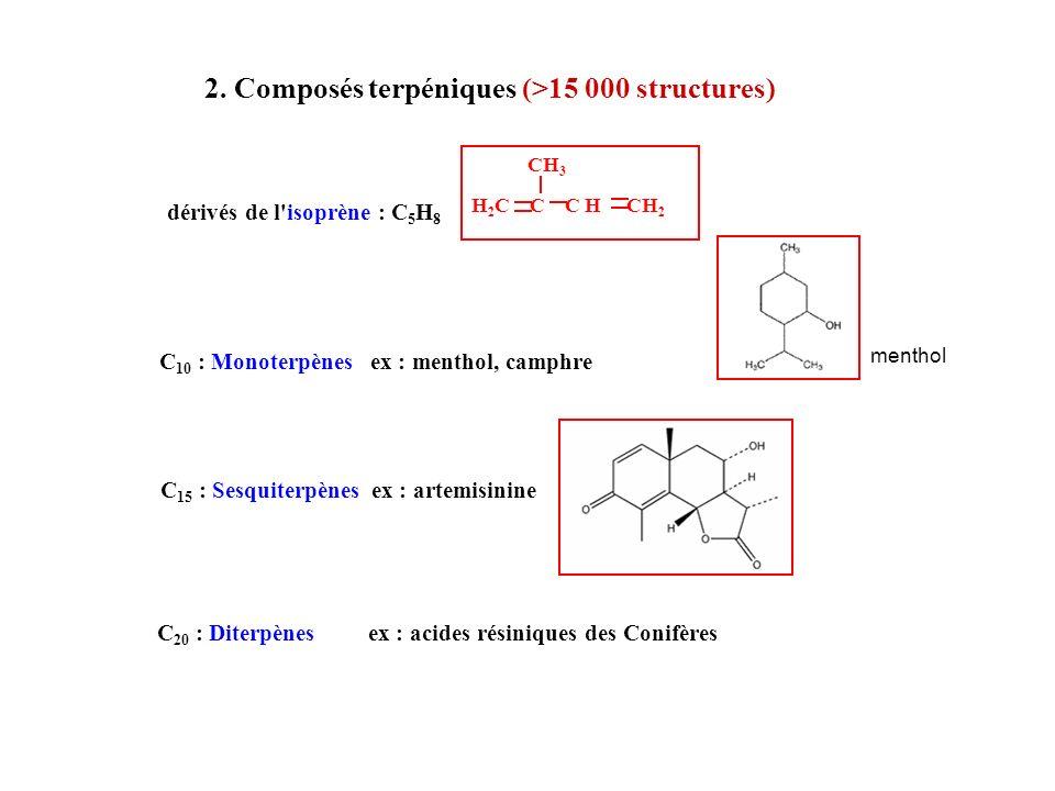 2. Composés terpéniques (>15 000 structures) dérivés de l'isoprène : C 5 H 8 CH 3 H 2 C C C H CH 2 C 10 : Monoterpènesex : menthol, camphre C 15 : Ses