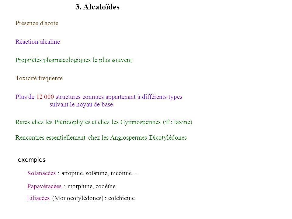 3. Alcaloïdes Plus de 12 000 structures connues appartenant à différents types suivant le noyau de base Rares chez les Ptéridophytes et chez les Gymno