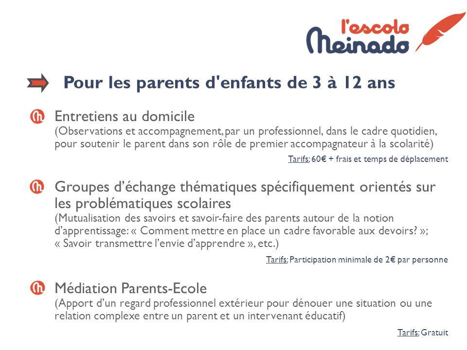 Pour les parents d'enfants de 3 à 12 ans Entretiens au domicile (Observations et accompagnement, par un professionnel, dans le cadre quotidien, pour s