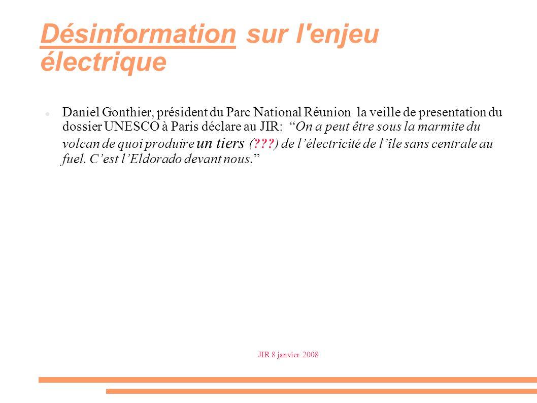 Désinformation sur l'enjeu électrique Daniel Gonthier, président du Parc National Réunion la veille de presentation du dossier UNESCO à Paris déclare