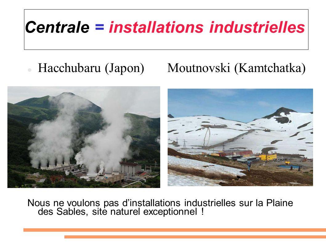 Centrale = installations industrielles Hacchubaru (Japon) Moutnovski (Kamtchatka) Nous ne voulons pas dinstallations industrielles sur la Plaine des S