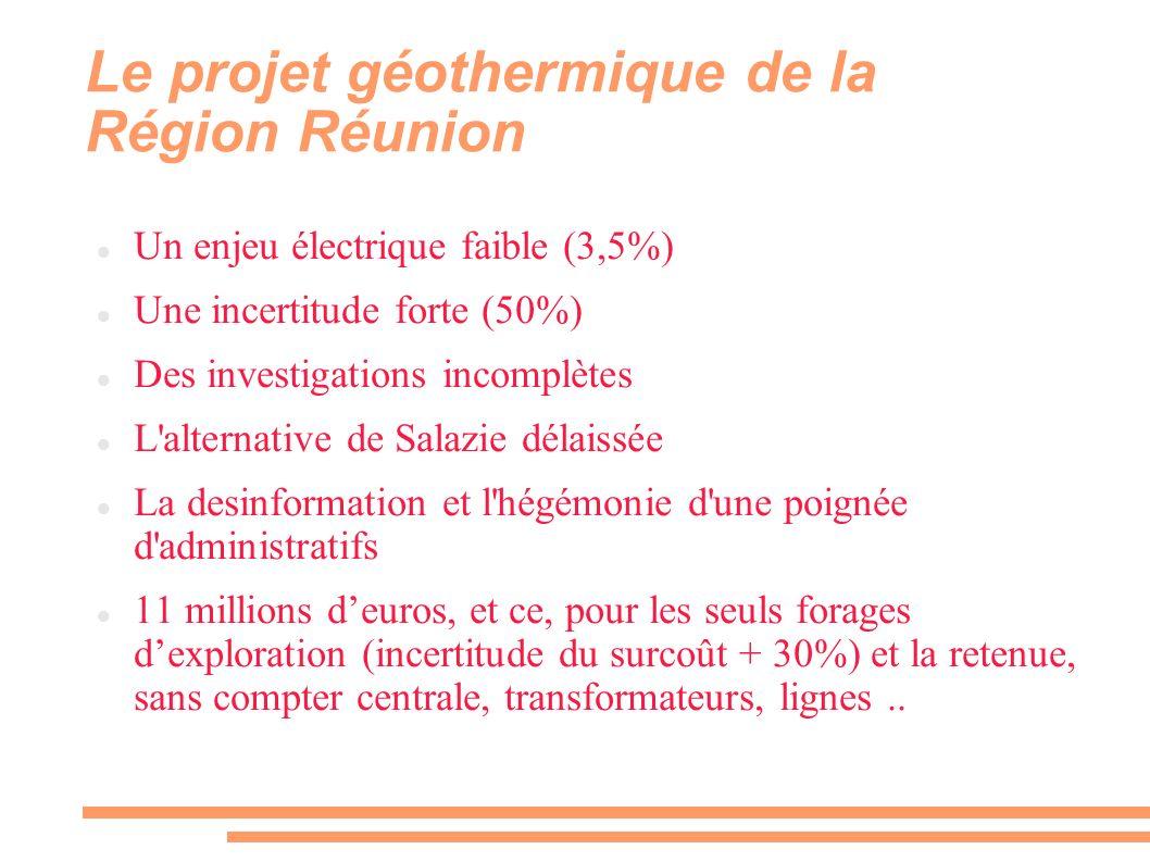 ENJEU ELECTRIQUE = 20 MW Site de l ARER http://www.arer.org/endur/filtech/geothermie/run.php?fiche=GEOTHERMIE