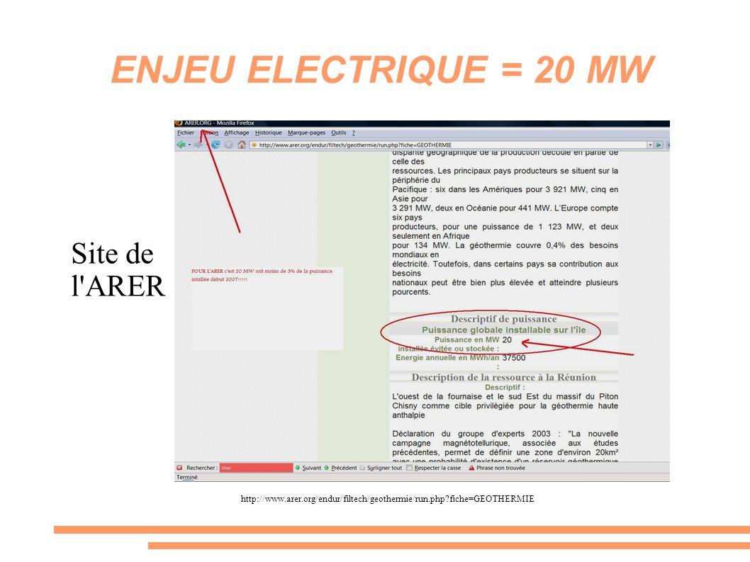 ENJEU ELECTRIQUE = 20 MW Site de l'ARER http://www.arer.org/endur/filtech/geothermie/run.php?fiche=GEOTHERMIE