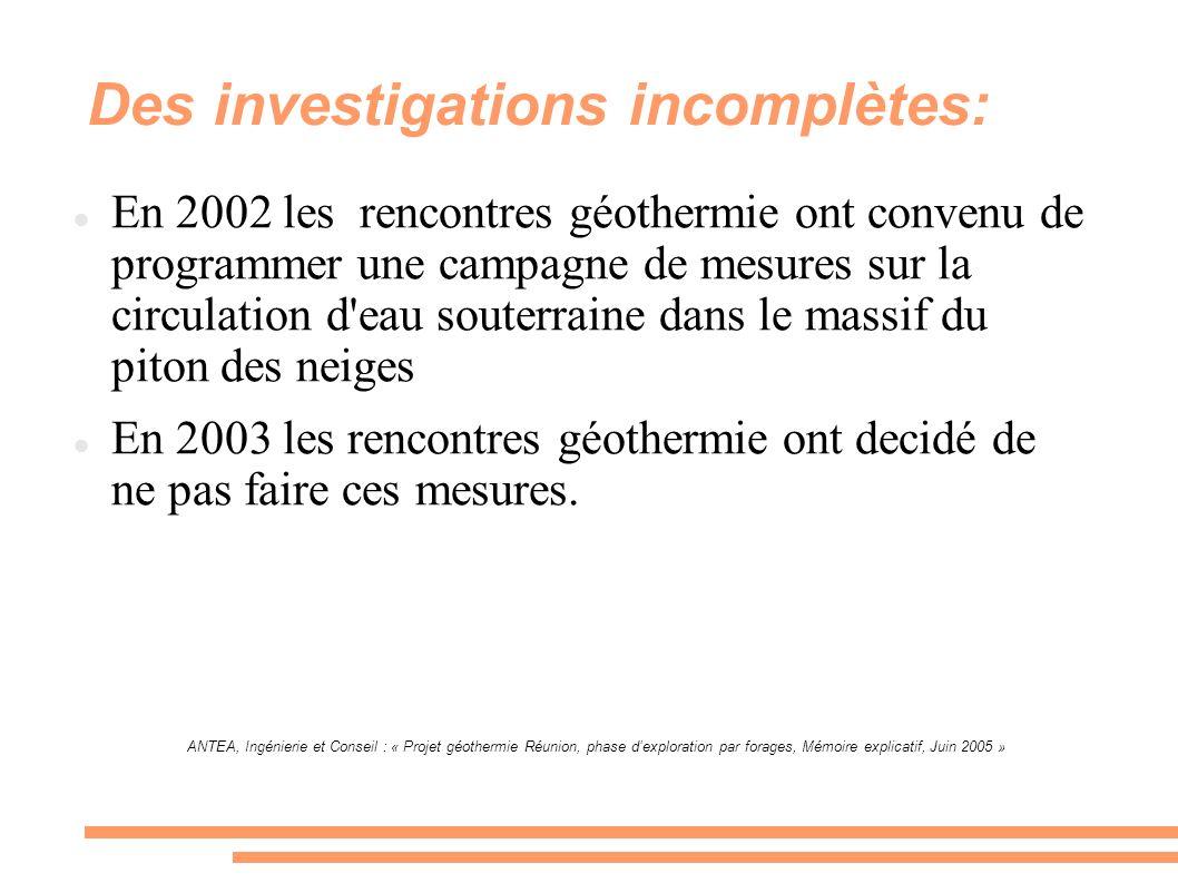 Des investigations incomplètes: En 2002 les rencontres géothermie ont convenu de programmer une campagne de mesures sur la circulation d'eau souterrai
