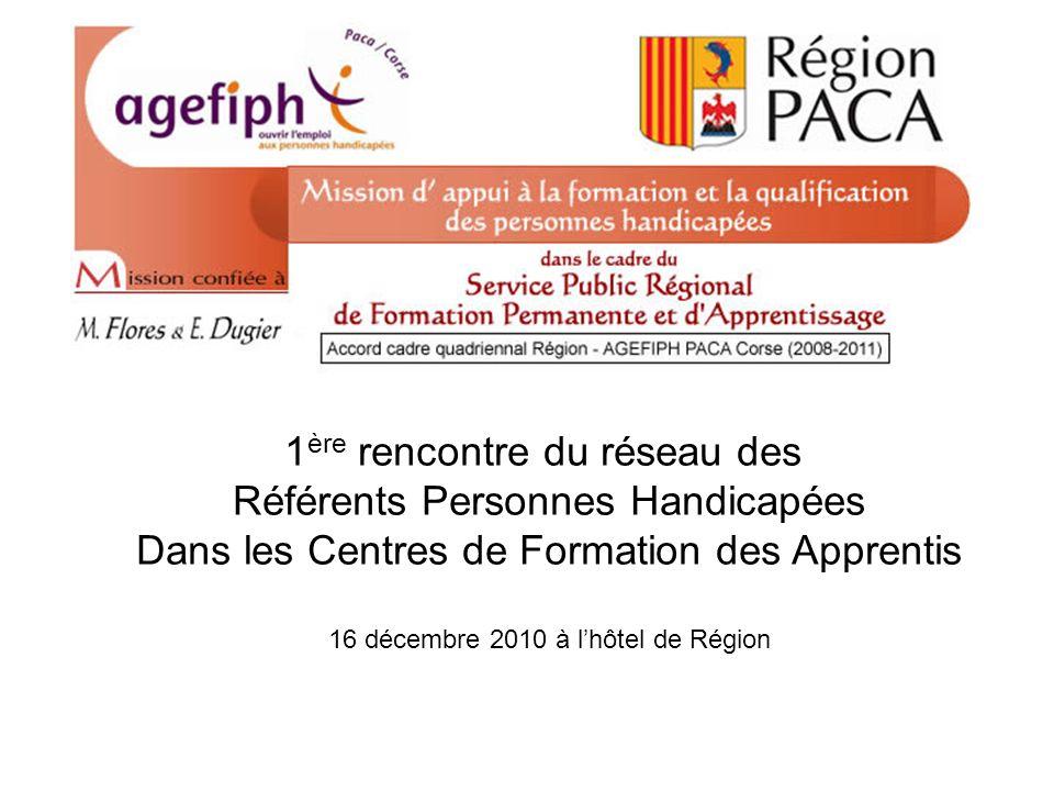 Avril 2010 Formation des référents PH 1 ère rencontre du réseau des Référents Personnes Handicapées Dans les Centres de Formation des Apprentis 16 décembre 2010 à lhôtel de Région