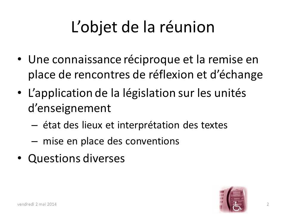 LES UNITES DENSEIGNEMENT Le cadre légal Etat des lieux et interprétation des textes Mise en place des conventions vendredi 2 mai 20143