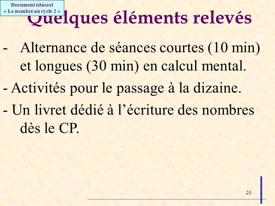 20 Quelques éléments relevés -Alternance de séances courtes (10 min) et longues (30 min) en calcul mental. - Activités pour le passage à la dizaine. -