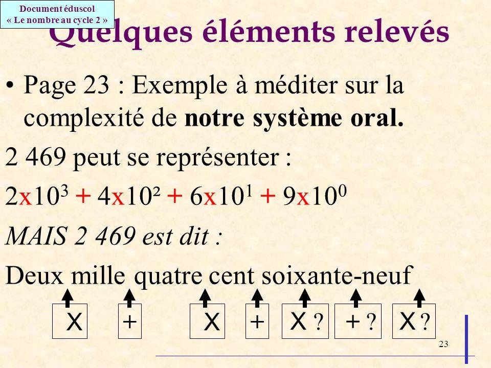 23 Quelques éléments relevés Page 23 : Exemple à méditer sur la complexité de notre système oral. 2 469 peut se représenter : 2x10 3 + 4x10² + 6x10 1