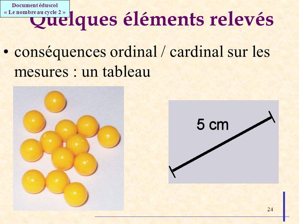 24 Quelques éléments relevés conséquences ordinal / cardinal sur les mesures : un tableau Document éduscol « Le nombre au cycle 2 »