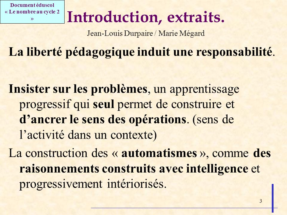 3 Introduction, extraits.