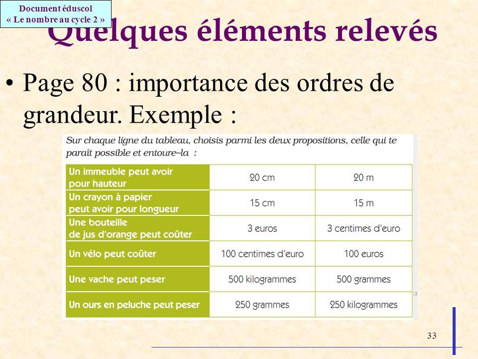 33 Quelques éléments relevés Page 80 : importance des ordres de grandeur. Exemple : Document éduscol « Le nombre au cycle 2 »
