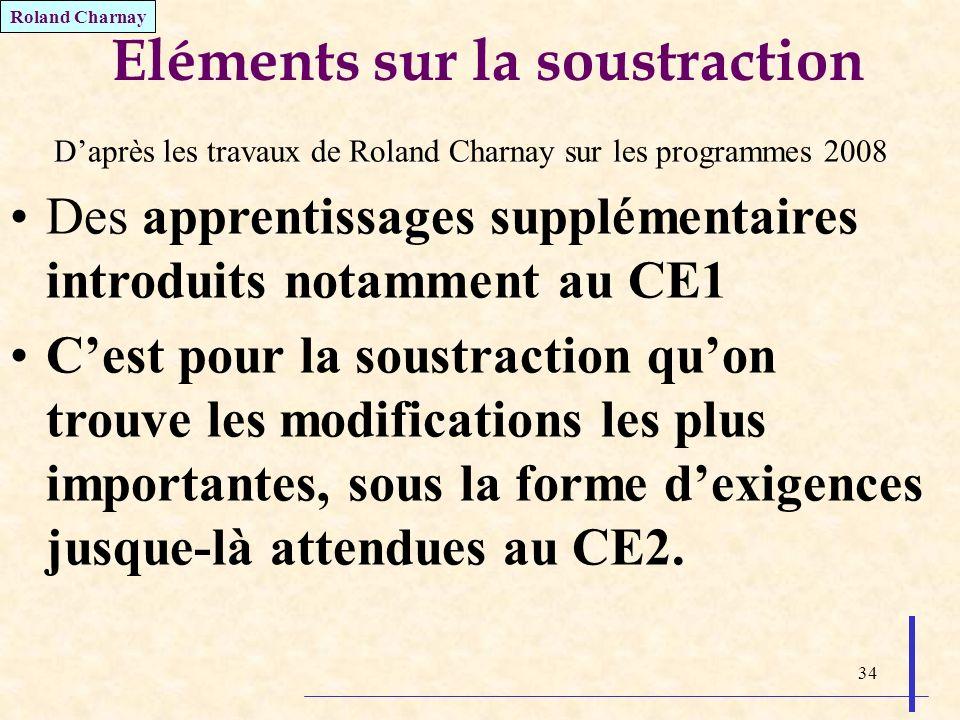 34 Eléments sur la soustraction Daprès les travaux de Roland Charnay sur les programmes 2008 Des apprentissages supplémentaires introduits notamment a